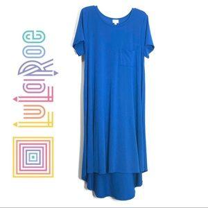 Lularoe Carly Dress Blue Flowy With Breast Pocket